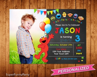 Elmo Invitation, Sesame Street Birthday Invitation, Elmo Birthday Invite, Elmo Printable, Personalized, Digital File