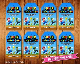 Super Mario Favor Tags, Super Mario Thank You Tags, Super Mario Printable, Personalized, Digital File