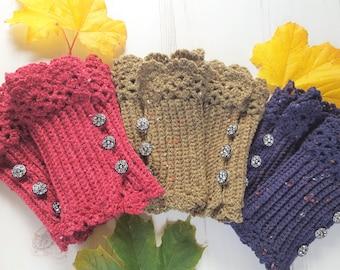 Unique Wrist Warmers/Crochet Boho Style Wrist Warmers/Fingerless gloves/ Wrist warmer cuff/Hand warmer