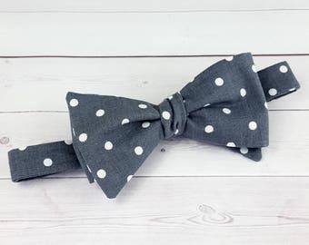 Men's Self Tie Bow Tie, Men's Bow Tie, Adjustable Bow Tie, Polka Dot Bow Tie, Grey Tie, Groom Bow Tie, Wedding Bow Tie, Ring Bearer, Bow Tie