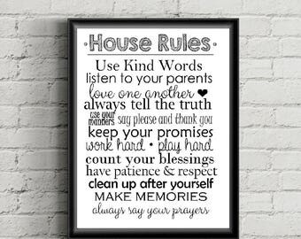 House Rules, Family Rules, Mom & Dad, Children, Family - Printable Home Wall Decor