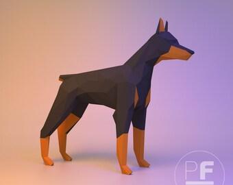 Doberman (dog, paper dog, origami dog, big dog, polygonal, papercraft, lowpoly, DIY template, PDF)