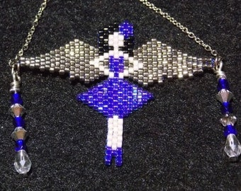 Angel blue and silver necklace