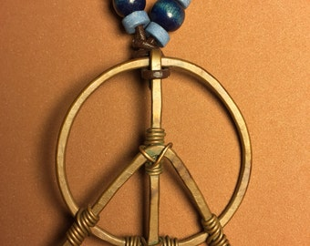 Copper Peace Sign Necklace