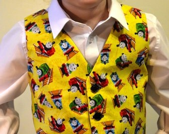 Boys Waistcoat made with Thomas the Tank Engine fabric; matching Bowtie available.