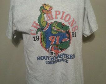 Vintage 90's University of Florida 1991 South Eastern Champions T Shirt Size XL Gators NCAA College Football