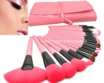 24 Pcs Makeup BRUSHES Pink Professional Cosmetic Foundation Eyeshadow Eyeliner (US ONLY)
