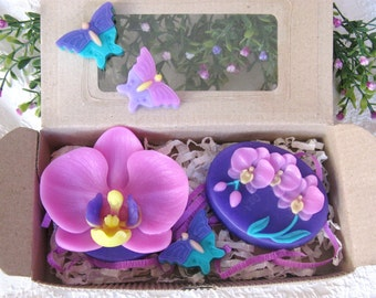 Flowers Soap - 2 soaps, creative handmade soap, orchid soap, orchid, orchid branch, bouquet of orchids, purple soap, lime soap, red soap