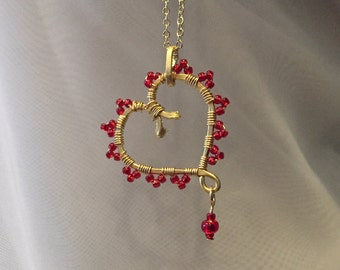 Wire wrapped beaded heart pendant necklace-heart wire-symbol of love-heart pendant-red heart-valentines day-dainty heart pendant-wire heart