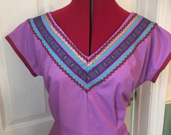 Patio Vintage Rockabilly Inspired blouse size 12/14 -REDUCED