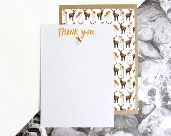 Deer Pattern Thank You Postcards