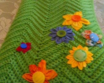 Spring Green Crochet blanket with beautiful handmade fabric flowers with button centers