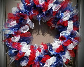 CLEARANCE Red, White & Blue Patriotic XL Deco Mesh Wreath