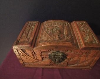 Oriental carved wooden trinket or cigarette box size L=20CM W=11CM=DEPTH=10CM