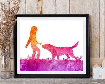 Dog with girl print Watercolor dog Poster print Dog wall art Dog painting Gift for girls Pink art Wall decor Instant download