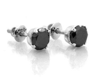 3 carats Black Diamond Ear Studs in 925 silver