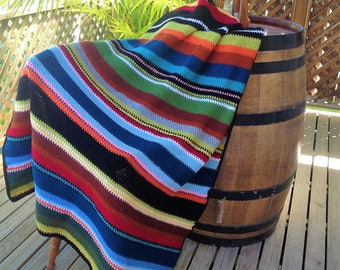 Crochet Mexcian blanket throw serape large