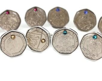 Twenty Pence Birth Year Cufflinks with Swarovski Birthstone - Birthday, Birthstone, Anniversary Cufflinks. Year choice from 1982 to 2016