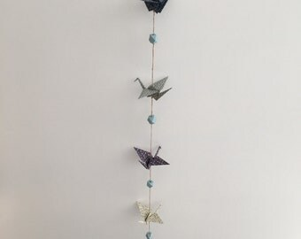 Garland hanging origami cranes birds blue-green 3D