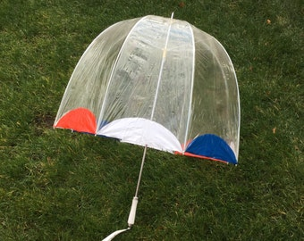 Clear Bubble Umbrella With Red White And Blue Trim