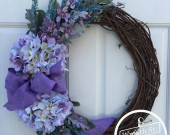 Lavender Wreath, Hydrangea Wreath, Front Door Wreath, Grapevine Wreath, Wreath Streeet Floral, Year Round Wreath, Summer Wreath