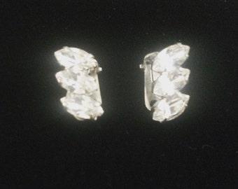 Vintage diamanté clip on earrings