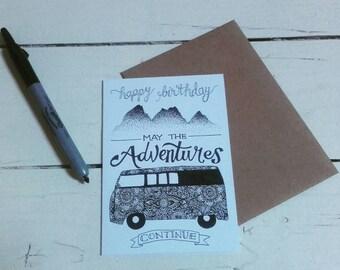 Happy Birthday - A6 greetings card - Henna Mehndi art - Mandala - VW camper - Campervan - May the Adventures continue - Zentangle