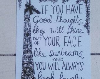 Postcard - A6 Art Print - Henna Mehndi Art - Giraffe - Roald Dahl - Quote - Mandala - Zentangle