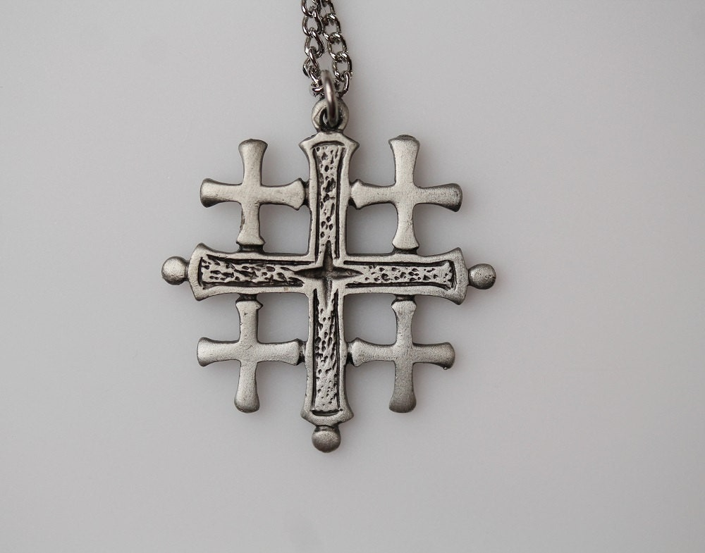 Vintage Pewter Jerusalem Cross Necklace Pendant Five Fold