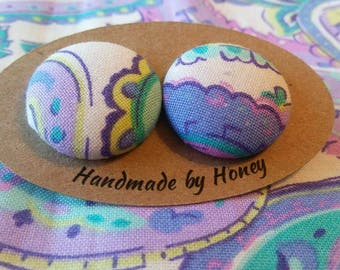 Blooming Fields/Fabric Button Covered Earrings/Nickel Free