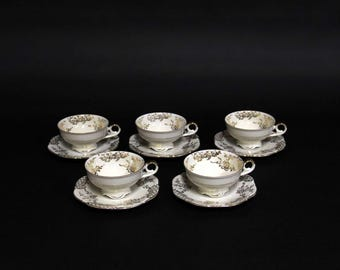Porcelain cups and saucers 5 PCs-Spenzo-polished