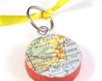 World map key chain