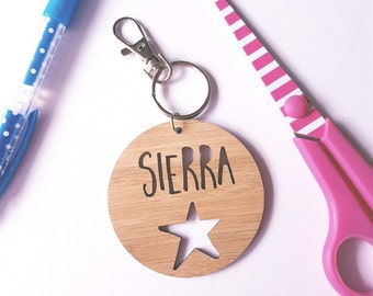 Bag Tag / Keyring Wood Bamboo Personalised Custom with Star-school-kinder-round-keys