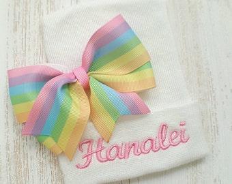 Personalized Newborn girl hospital hat- rainbow bow, rainbow baby, baby girl hospital hat, pastel baby girl, newborn hat, pastel rainbow