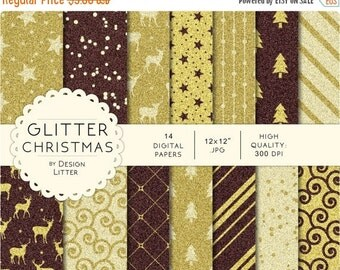 80% Until New Year - Christmas glitter digital papers · glitter and sparkling backgrounds with reindeer and Christmas trees for scrapbooking