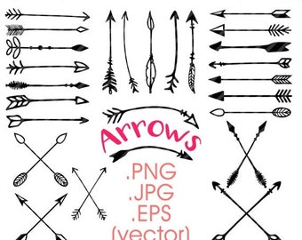80% Until New Year - Arrows clipart: hand drawn arrows tribal vector arrows doodle clip art .PNG .JPG .EPS print and cut, printable, instant