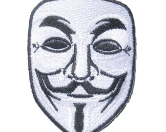 V For Vendetta Robot Hacker Mask Embroidered Iron On Patch
