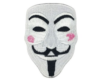 V For Vendetta Hacker Mask Embroidered Iron On Patch