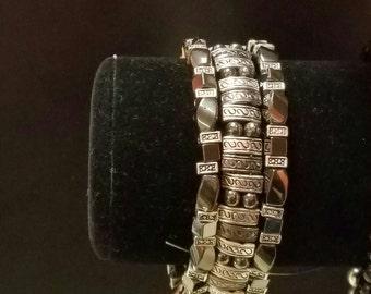 Black and silver 3 strand Bracelet