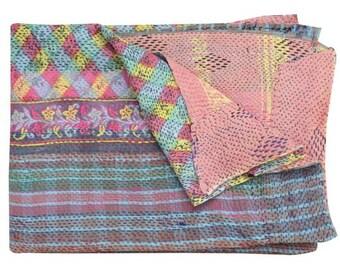 Handmade Kantha Quilt, Kantha Throw, Patchwork quilt, Vintage Quilt, Vintage Kantha Quilt, Kantha blanket, Patchwork throw, Reversible quilt
