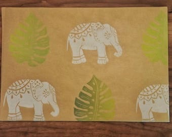 HANDPRINTED GIFTWRAP- Elephants and Split Palm Leaves, Hand printed wrapping paper, Tropical Leaves, Elephants