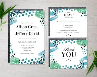 Printable Watercolor Wedding Invitation Suite - Modern - Watercolor - Invitation - Wedding - Contemporary - Printable - Thank You - RSVP