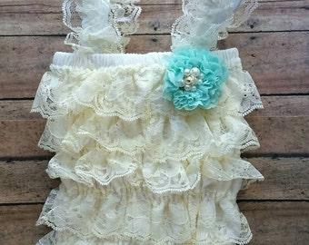 Newborn ivory lace romper - ivory and aqua romper - baby vintage romper - aqua vintage headband - newborn romper - baby shower girl gift