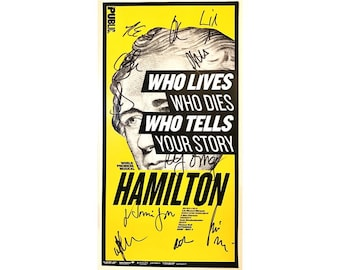 HAMILTON POSTER Rare Broadway AUTOGRAPHED Public Theater Signed Lin-Manuel Miranda, Phillipa Soo, Daveed Diggs, Leslie Odom, Jr.,
