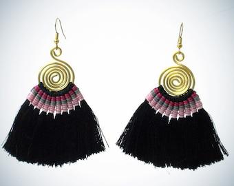 Tribal Spiral Tassel Earrings Black Tassel Jewelry Spiral Earrings Swirl Earrings