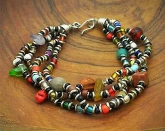 Beaded Multicolored 4 Strand Bracelet Beaded Bracelet Beaded Jewelry