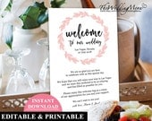 Wedding Itinerary Welcome Bag Note Wedding Welcome Bag Letter Printable Agenda Printable Welcome Note Instant Download Wedding Template WB3B