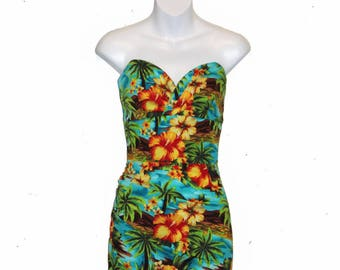 Kehaulani 1950's Strapless Ruched Wiggle Dress - Tropical/Floral
