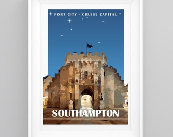 Vintage Travel Poster Southampton, Hampshire - Bargate. Handmade, A4 or A3 size, CUSTOMISABLE