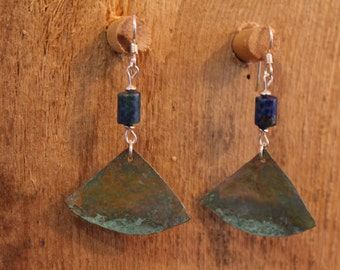 Triangle cut copper earrings